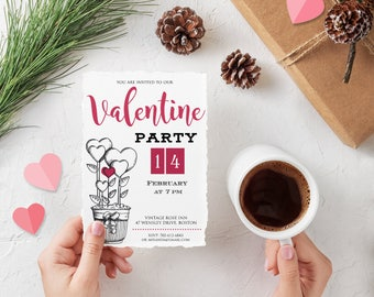 Valentines Day Party Invitation Valentines Dinner Printable Invitation Template Valentine Hearts Adult Party Digital Invite Instant Download