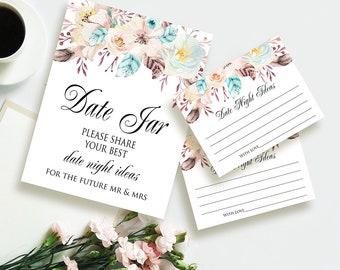 Floral Date Night Ideas Printable Bridal Shower Date Night Cards Date Jar Sign DIY Wedding Shower Games Bridal Party Ideas Date Advice Cards