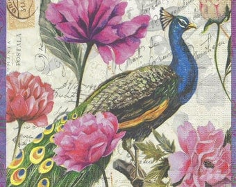 2 Peacock (252) paper napkins