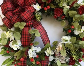 Christmas Wreath, Country Wreath, Deer Antler Christmas Wreath, Red Christmas Wreath, Clean Wreath