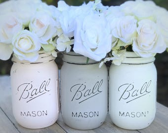 Powder pink, aged gray, white | Painted and distressed Mason jars, kitchen, storage solution, desk accessory, centerpiece, chalk paint vase