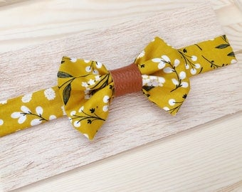 Baby bow tie with leather accent
