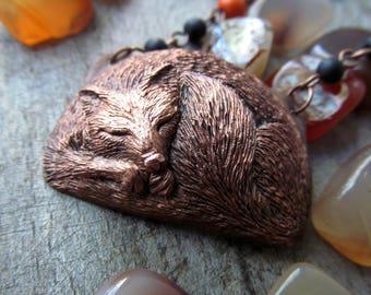 fox totem pendant /electroplated  Fox pendant / fox lover gift/ Сopper pendant sleeping fox