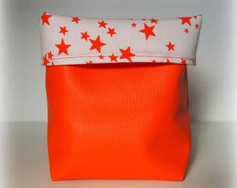 Faux leather/orange cotton tidy starry