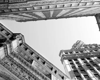 Canvas Print, Black And White Chicago City Photography, Skyscraper Photo, Wrigley Building Photograph, Chicago City Abstract Picture