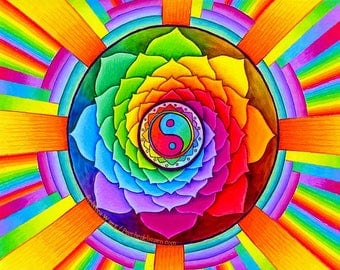 Yin Yang Mandala Colorful 1 Inch Round Digital Collage Sheet