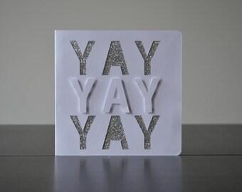 Yay, Silver, Glitter, Card, Handmade Card