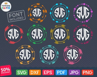 ARROW MONOGRAM Frame Svg files download Circle Arrow Frame Svg for Cricut Round Arrows Svg Monogram Border Silhouette Dxf Digital Clip Art