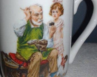 Norman Rockwell The Cobbler Coffee Mug 1982