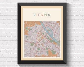 Vienna Map, Vienna Street Map, Vienna City Map, Vienna Art, Vienna Poster, Vienna Map Print, Vienna Decor, Vienna Art Print, Vienna, Austria
