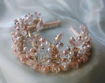 Pink Bridal Pearl Crown, Crystal Wedding Crown, Pearl Crown, Wedding Tiara, Wedding Crown, Bridal Tiara
