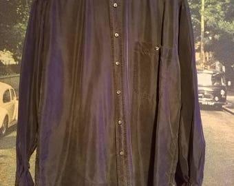 Vintage Structure Mens Medium Silk Shirt.
