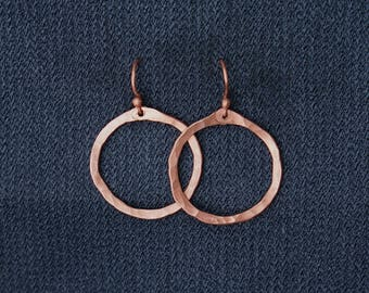 Textured Circle Earring || Textured Earring || Simple || Natural || Copper || Silver