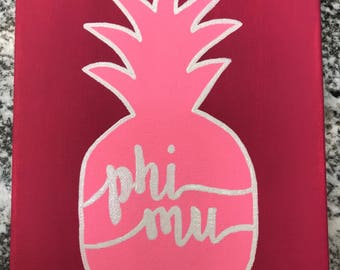 Phi Mu Sorority Canvas // Pineapple //Pink // Recruitment // Painting // Crafts //Big and Little
