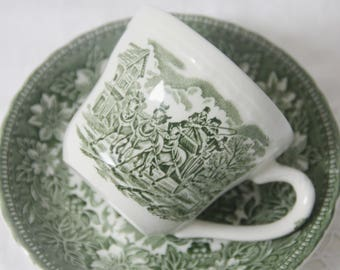 Vintage Royal Tudor Ware Cup and Saucer ' Coaching Taverns', English Countryside Scene, England