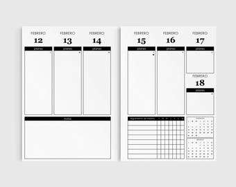 A5 Planner Inserts in Spanish, Minimalist Planner 2018, Printable Planner 2018, A5 Planner Pages, Agenda 2018, Vertical Planner Inserts 2018