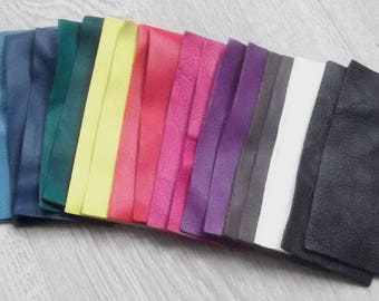 Set of 20 rectangles lambskin various colors.