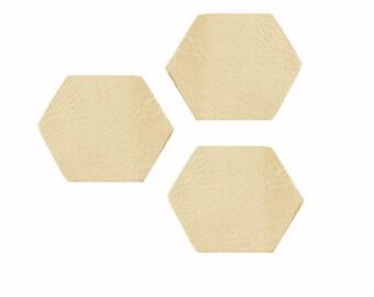 Set of 3 shapes x 0.8 cm style octogonals sequins beige leather