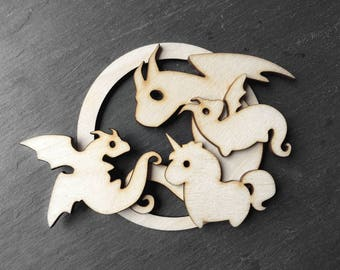 Big dragon family with 2 little dragons and a unicorn - holiday gift Christmas ornament - natural color wood - unscented