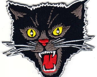 Screaming Black Cat Horror Scary Patch