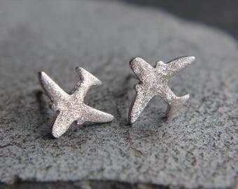Airplane earrings made of sterling silver earrings