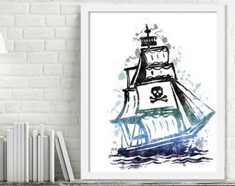 Printable Pirate Ship Wall Art Pirate Print Watercolor, Kids Room Decor, Nursery Art, Watercolor Splatter Art Print Digital Download