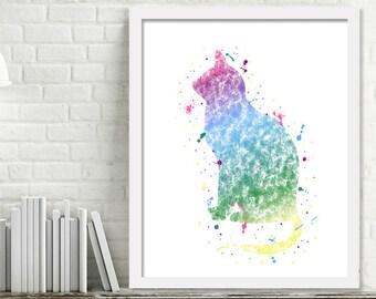 Printable Cat Watercolor, Cat Wall Art, Cat Lover Gift Watercolor Paint Splatter