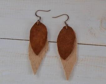 Feather Earrings, Leather Feather Earrings, Leather Earrings, Brown Leather Earrings, Boho Brown Feather Earrings, Feather Leather Earrings