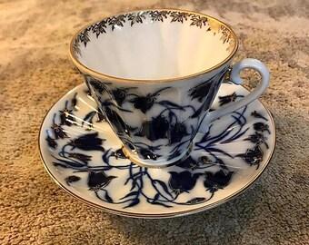 Lomonov Bluebell Russian Porcelain Tea Cup and Saucer.  Cobalt Blue.  22K Gold.