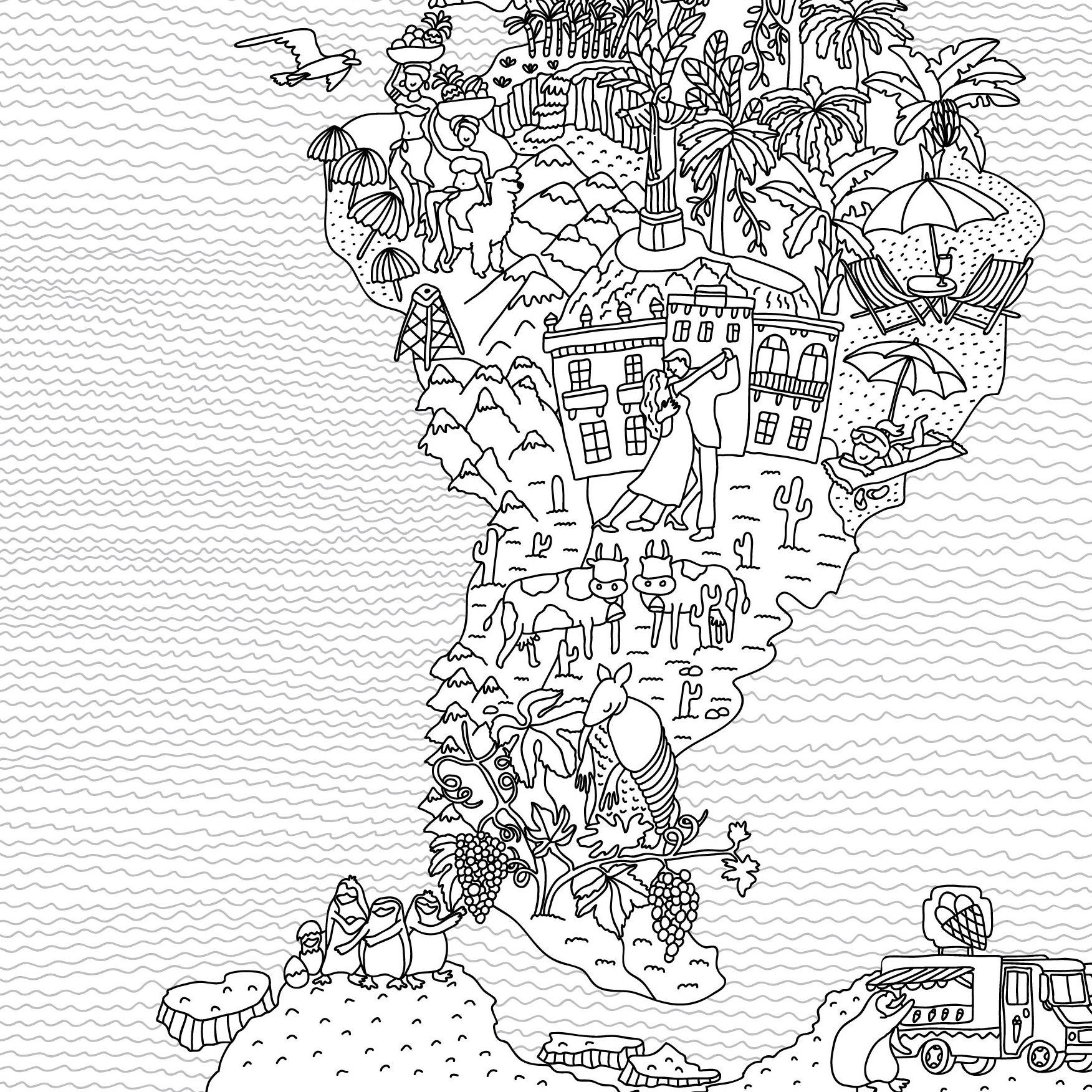 Coloring Map- World Map Coloring Page - Kids Map- Travel Map ...