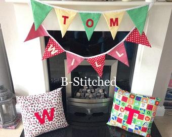 Personalised bunting, birthdays, gift, baby shower, weddings, bedroom decor.