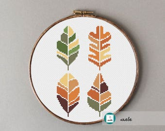 Autumn leaves cross stitch pattern, PDF, instant download