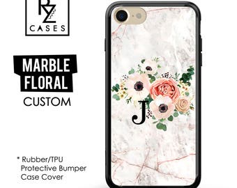 Rose Marble Phone Case, Marble iPhone 7 Case, Initial, Floral Marble Case, Personalized Gift, iPhone 7, Gift for Her, Rubber Case, Bumper