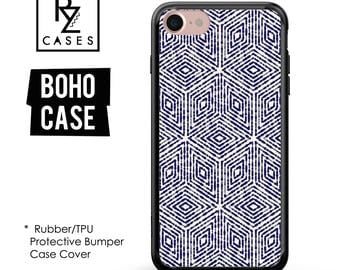 Boho Case, Indigo Case, iPhone 7 Case, iPhone 6 Case, Geometric Case, indigo Phone Case, iPhone 7 Plus Case, Rubber, Bumper Case