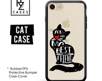 Cat Phone Case, Cute Cat Phone Case, Best Friend Case, iPhone 7, Animal, Love Case, Gift for Her, iPhone 7 Plus, iPhone 6S, Rubber, Bumper