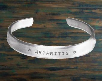 Arthritis Bracelet, Arthritis gift, Arthritis jewelry, Arthritis Medic alert Bracelet, Medic alert ID, Survivor, Arthritis bangle, Warrior