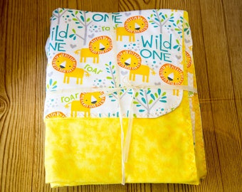crib sheet double sided receiving blanket yellow lion bright happy wild one