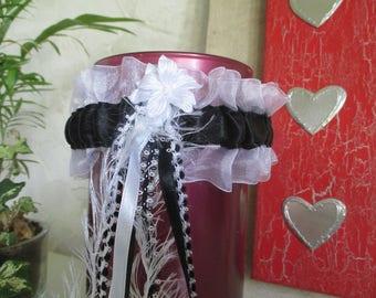 garter satin black and white