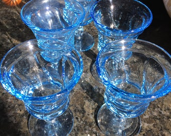 Set of 5 Fostoria Jamestown Blue Wine Glasses