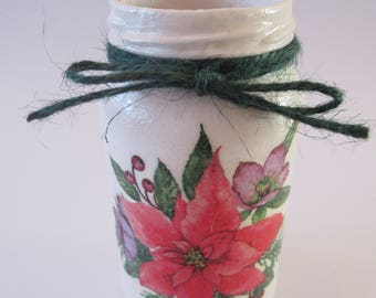 Christmas decoupage jar