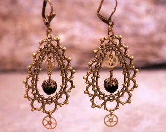 Czech glass black with gear watch /boucle dangle chandelier earrings