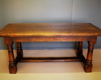 Oak Refectory dining table with extension leaf.