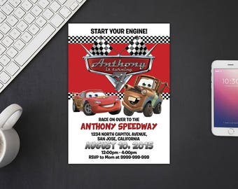 Disney Cars Invitation, Disney Cars Birthday, Disney Cars Invites, Disney Cars Party Printables, Disney Cars Custom