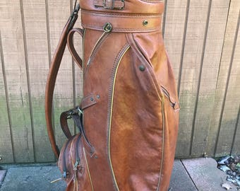 VINTAGE Genuine Leather Burton Golf Bag