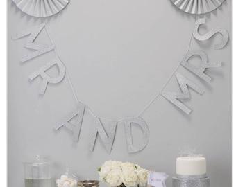 Wedding/Silver Glitter Mr & Mrs Wedding Bunting - Metallic Perfection