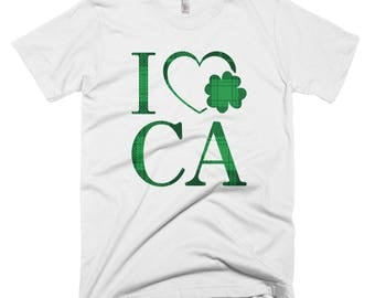 I Love California Clover Shirt // I Heart CA Lucky T Shirt // California St. Patrick's Day Tee // Funny Shamrock Short-Sleeve T-Shirt