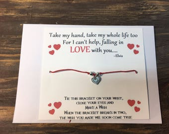 Elvis-can't help falling in love with you wish bracelet .Heart charm bracelet .Heart wish bracelet .wish bracelet