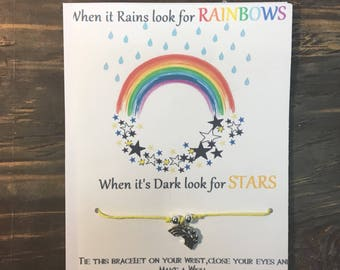 When it rains look for rainbows when it's dark look for stars wish bracelet. Rainbow charm bracelet. Rainbow wish bracelet