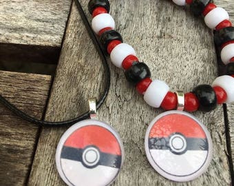 Pokémon party favors.Pokemon bead bracelet.Pokemon necklace.Pokemon go party favors.Pokemon ball favors.Pokemon jewelry.Pokemon birthday