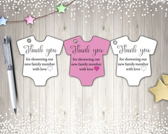 Thank You Tags, Baby Shower Tags, Printable Tags, PinkTags, Instant Download